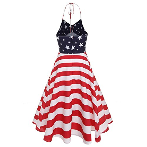Rouge sans en Manches 7494 Drapeau Femmes Impression col soire balan Robe Parti Vintage oire V Bal gwfx56nIRq