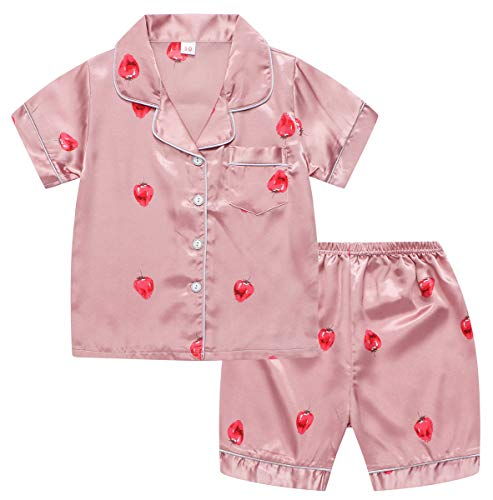 (Girls Pajamas Set, PJS Short Sleeve Button-Down Top + Shorts Sleepwear Loungewear 2 Pieces Satin Pajamas Set for Little & Big Girls, Strawberry, 4-5 Years = Tag)