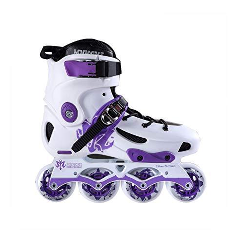 お香極端な訪問ailj インラインスケート、ラピッドスケート大人のプロフェッショナルローラースケートスピードスケートシューズセット(ホワイトパープル) (色 : 1, サイズ さいず : EU 44/US 11/UK 10/JP 27cm)