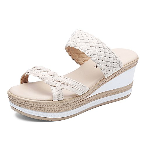 UK3 bajo Sandalias de verano Moda Zapatillas EU36 2 CN35 femenino desgaste abajo Tamaño exterior 2 grueso Slipper Color tacón de qpT7BwnxB