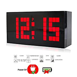 T Tocas Large Big Number LED Snooze Wall Desk Alarm Clock Thermometer Date Display (Red)