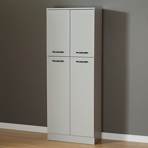 Cheap  South Shore 4-Door Storage Pantry with Adjustable Shelves, Soft Gray