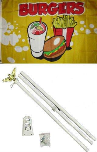 Flag 3x5 Advertising Burgers White Pole Kit Set 3'x5' New Br