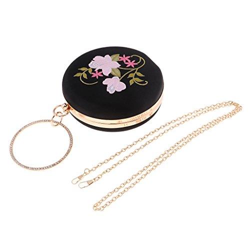Round Floral Clutch Clutch Black Prettyia Bag Handbag Bag Wedding Evening embroidery Womens Party qtAwRY5