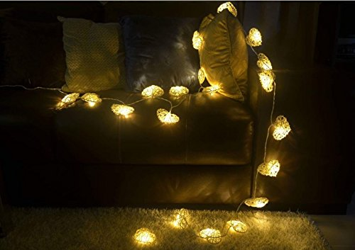 Natural White Heart Set Rattan Ball String Lights Fairy Party Decor Wedding Bedroom Garden Spa and Holiday 20 Lighting ( Battery AA LED ) by' Thai Decorated by Thai Decorated (Image #2)