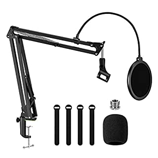 """Microphone Arm Stand,Adjustable Suspension Boom Scissor Mic Stand with Pop Filter, 3/8"""" to 5/8"""" Adapter, Mic Clip, Upgraded Heavy Duty Clamp for Blue Yeti Nano Snowball Ice and Other Mics"""