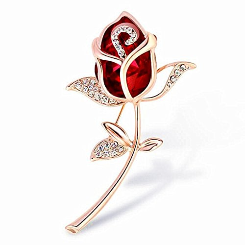 Wcysin 3D Rose Brooch Pins for Women Bouquet Flower Wedding Created Crystal Brooch (Red) - Design Pin Brooch