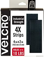 VELCRO Brand Heavy Duty Fasteners   4x2 Inch Strips 4 Sets   Holds 10 lbs   Stick-On Adhesive Backed   Black Industrial Strength   For Indoor or Outdoor Use, 90209