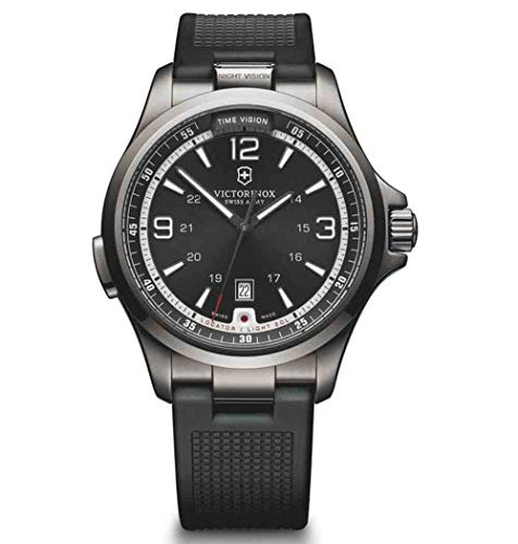 Victorinox Night Vision Black Dial Silicone Strap Men's Watch 241596XG (Certified ()