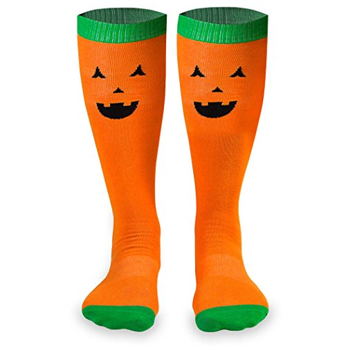 Jack-O-Lantern Halloween Knee High Half Cushioned Athletic Running Socks | Fun Running Socks by Gone For a Run One -