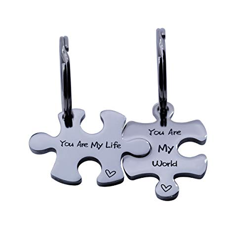 omodofo Valentine's Day His and Hers Puzzle Piece Pendant Necklace Keychain Set Personalized Couples Stamped Chain Keyring (You are My World & Life (Keychain))