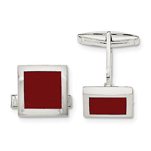 ICE CARATS 925 Sterling Silver Red Agate Cuff Links Mens Cufflinks Link Fine Jewelry Dad Mens Gift Set (Set Sterling Silver Cufflinks)