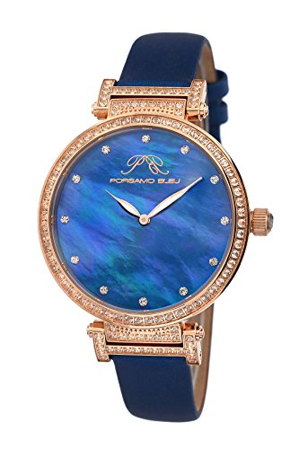 Porsamo Bleu Chantal Satin Covered Genuine Leather Women's Watch with White Topaz 673CCHL (Mop Watch Strap Satin)