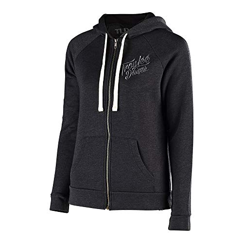 Troy Lee Designs Women's Tattoo Racer Zip Up Hoodie (X-Large, Black Heather)