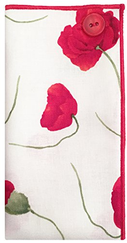 White w/ Red & Green Flower w/ Red Button Mens Pocket Square The Detailed Male by The Detailed Male (Image #1)