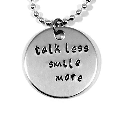 Hamilton Broadway Musical Hand Stamped Talk Less Smile More Necklace ()
