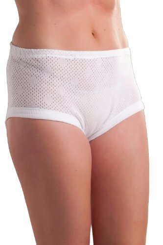 9 Pack: Passionelle Womens Cuff Leg Mama Briefs - Cotton Eyelet Fabric [XXOS]