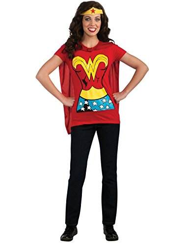DC Comics Wonder Woman T-Shirt with Cape and Headband, Red, X-Large -