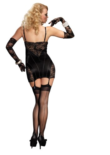 Leg Avenue Women's Stretch Satin Underwire Garter Dress with Lace Panels