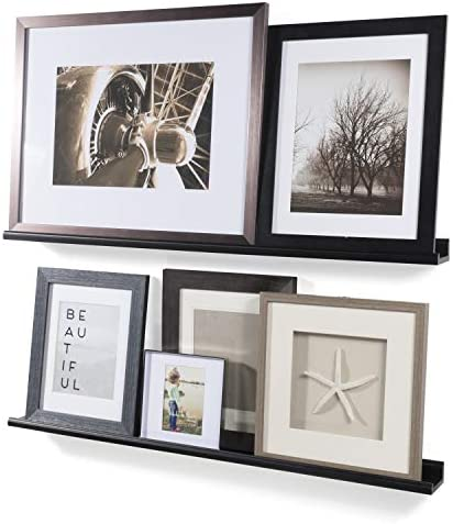Wallniture Boston Contemporary Floating Wall Shelf Ledge Picture Book Display Black 46 Inch Set of 2