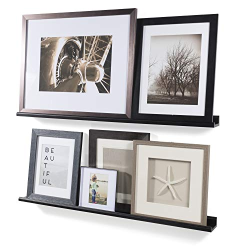 Wallniture Boston Contemporary Floating Wall Shelf Ledge Picture Book Display Black 46 Inch Set of 2 ()