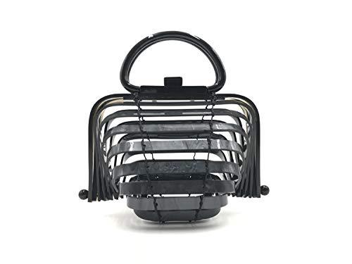 BOKPLD Acrylic Lilleth Clutch Collapsible Tote Bag Top Handle Handbag ... (Black)