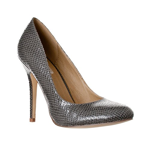 Riverberry Women's Piper Round Toe, High Heel Pumps, Grey Snake, 7.5