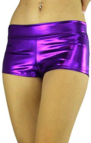 ToBeInStyle Women's Seamless Polyester Metallic Plus Size Mini Booty Shorts (Purple) -