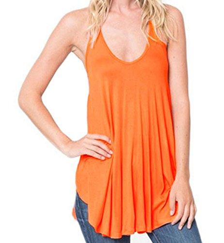 FQHOME Womens Orange Racerback Flowy Cami Tank Top Size XL