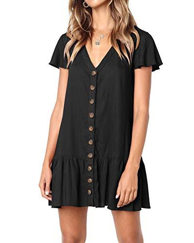 Black Button Front Dress - Bbalizko Womens Cute V Neck Short Sleeve Buttion Down Loose Fit Ruffle Mini Dresses (Medium, Z-Black)
