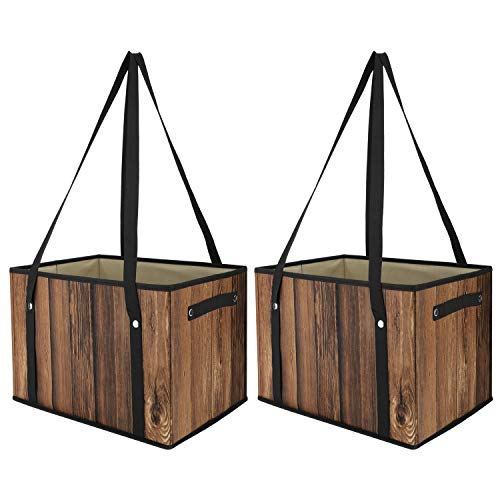 Nuovoware Reusable Grocery Shopping Bags, [2 Pack] Heavy Duty Tote Bags Shopping Boxes Storage Cubes Bins Camping Outdoor Picnic Bag with Shoulder Straps and Handles, Foldable, Durable - Wood Grain