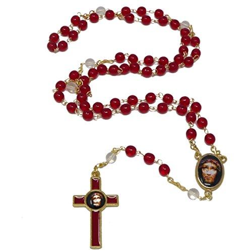 Precious blood of Christ red round glass Sacred face of Jesus rosary beads 56cm (Rosario De La Preciosa Sangre De Cristo)