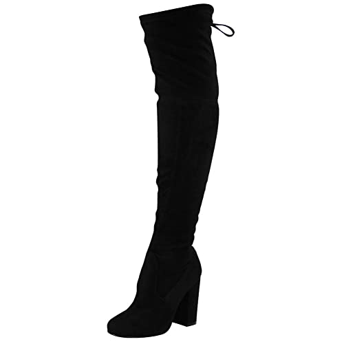 68238fee5870 Loud Look Womens Ladies Over The Knee Thigh High Boots Lace Up Block Heel  Shoes Boots Size 3-8  Amazon.co.uk  Shoes   Bags
