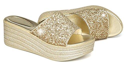 Dames Paillette Platform Hoge Hak Sandalen Eenvoudige Slippers Goud