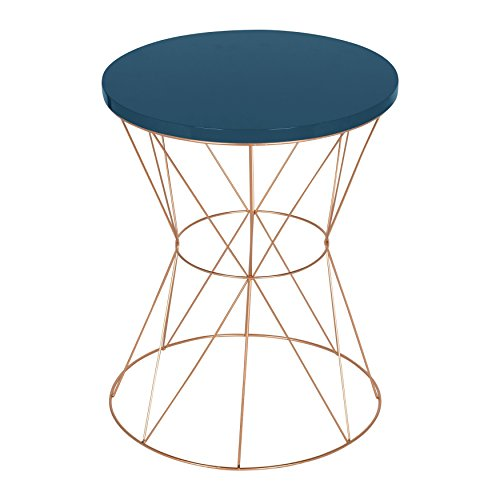 Uniek Kate and Laurel Mendel Round Metal End Table, Blue Top with Rose Gold Base (Blue Metal Rose)