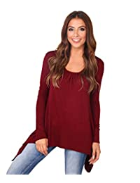 KRISP Women Ladies Pleated Flared Hanky Hem Plain Jersey Long Sleeve Tunic Top T Shirt