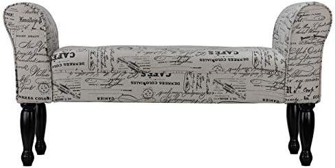 Cortesi Home Bailee Curved Arm Bench in Beige Script Linen
