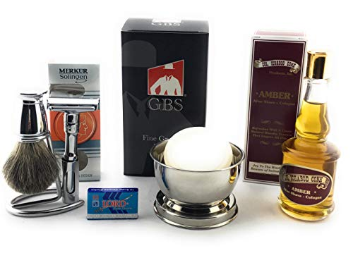 GBS Shaving Gift Set - Merkur Futur Safety Razor Polished Chrome, Conk Amber After Shave Cologne, Chrome Pure Badger Bristle Shave Brush, Razor & Brush Stand, Stainless Shave Bowl + Natural Shave Soap