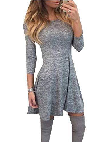Autumn Dress Skinny Tunic XINHEO Long Mini Grey Nightclub Sexy Sleeve Women's OFHqzq0Zw