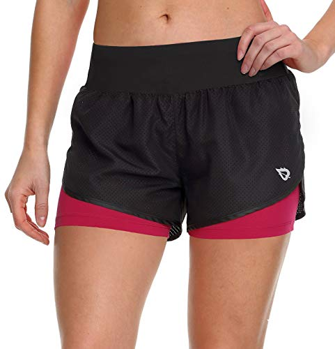 Baleaf Women's Running Shorts 2 in 1 Back Pocket Workout Jogging Shorts Black/Pink Size XL ()