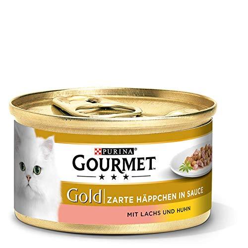 PURINA GOURMET Gold Zarte Häppchen in Sauce Katzenfutter nass, verschiedene Sorten, 12er Pack (12 x 85g)