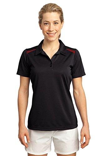 Sport-Tek Ladies Vector Sport-Wick Performance Polo Shirt LST670 L Black/True Red