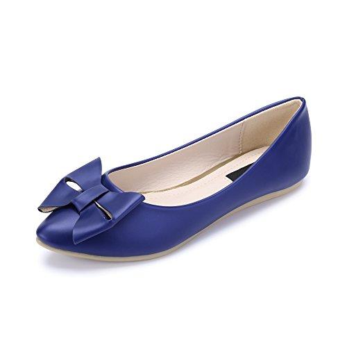 Damen Ballerinas Spitze Einfach oder mit Schleife zur Dekoration Blau C-3