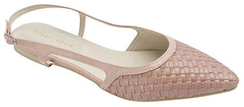 Sweet Holic Womens Woven Emboss Slingback Flat Shoes (US 7.5, Pastel Pink) Pastel Ballet Shoes