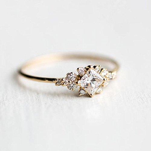 6 Metmejiao Vintage Women Aquamarine Gemstone 14k White Gold Filled Wedding Bridal Band Ring