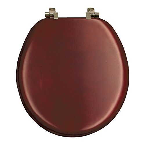 Natural Reflections Toilet Seat - Mayfair 9602NI 178 Veneer Toilet Seat with Brushed Nickel Hinges, Round, Cherry