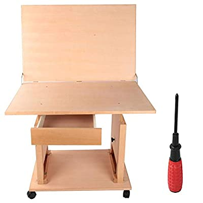Wooden Easel, Adjustable Height Art Sketch Painting Table with Drawer for Artwork Graphic Design Reading Writing Oil Painting Watercolor Gouache