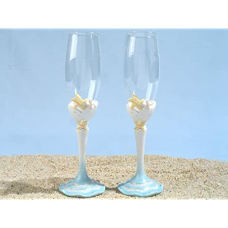Starfish Sandy Beach Champagne Glass Set