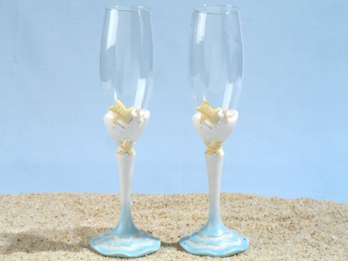 Starfish Sandy Beach Champagne Glass Set