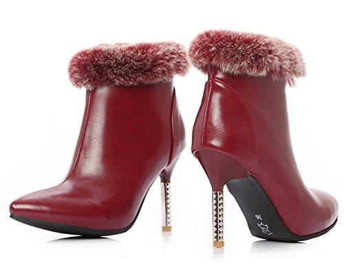 Aisun Femmes Sexy Fausse Fourrure Bout Pointu Côté Fermeture À Glissière Robe Stiletto Talons Hauts Bottines Chaussures Vin Rouge